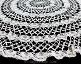 Charming Antique Tablecloth - Edwardian Dining Room Round Crochet Lace Centerpiece - Gorgeous Early 1900s Cotton Circle - Natural White