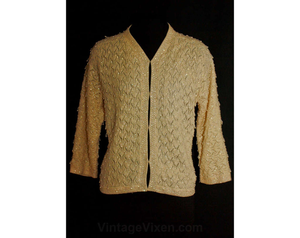 Large 50s Beaded Sweater - Beautiful 1950s Ecru Wool Cardigan with Shaggy Beadwork - Size 12 - Hong Kong - Near Mint - Bust 38.5 - 35229