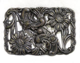 1910s Art Nouveau Daisy Brooch - Silver Floral & Flourish Metal - 1900s Edwardian Gibson Girl Antique Sash Pin - Large Rectangular - 50493