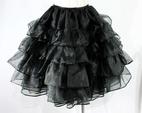 Size 8 Pouf Skirt - 1980s Retro Full Petticoat Style - 50s Inspired Can Can Layer by Dan DeSantis - Sparkly Sheer Black Ruffles - Waist 27
