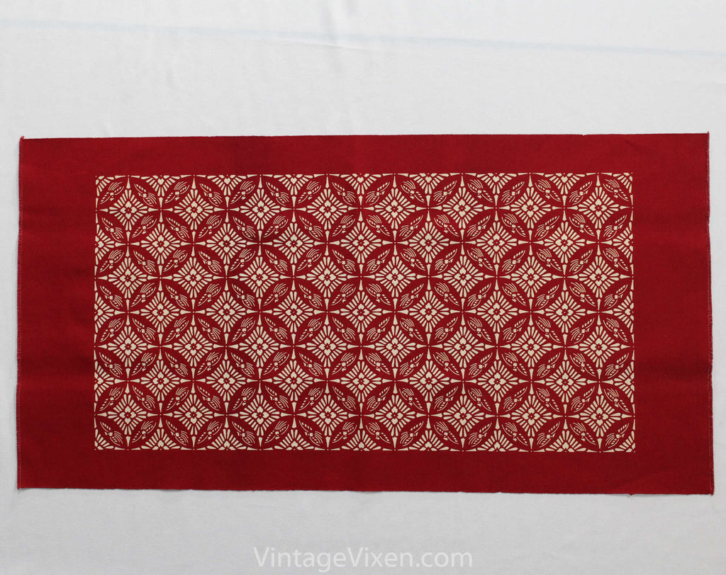 Beautiful Cotton Textile - Top Quality Rectangular Canvas Table Runner - Arts & Crafts Minimalist Brick Red Ivory Art Nouveau Screen Print