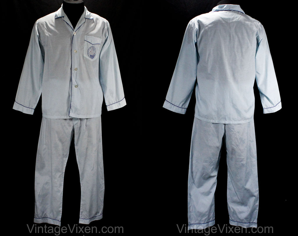 1960s Men's Pajama with Chinese Ship Embroidery - Size Medium - Mens PJ Shirt & Pant - Pale Blue 60s Lounge Wear - Junk Boat - 50194