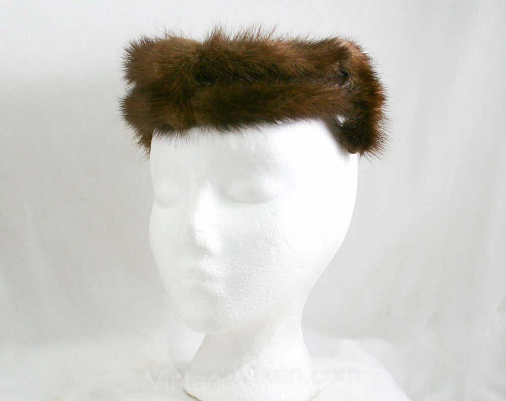 Mink Fur Hat - 1950s 1960s Furry Brown Halo Style Winter Headwear Millinery - Open Top - Genuine Fur - Mint Condition - 50s 60s - 41310