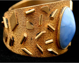 Retro 50s Brass Confetti Cuff Bracelet with Periwinkle Stones - Gold & Blue Bracelet - 1950s Rockabilly - Vintage Vixen - Bad Girl - 40152-1
