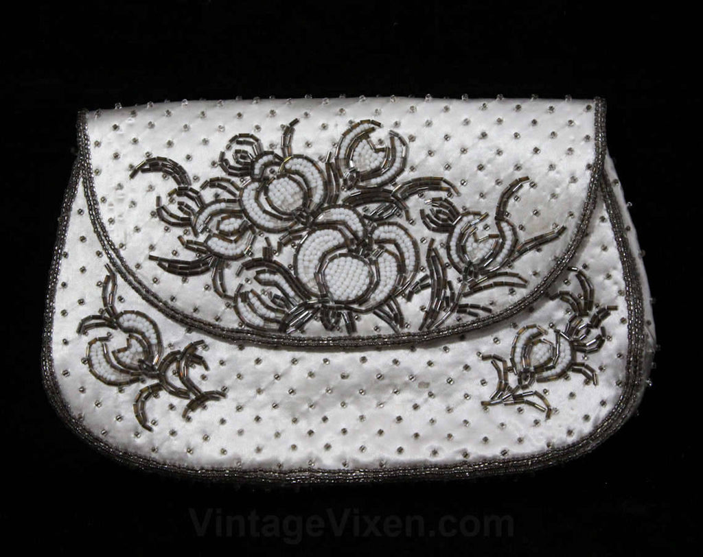 Pretty 1950s Beaded Satin Bag - Formal 50s Purse - White & Silver Spring Floral Evening Handbag - Made in Tokyo Japan - Excellent Condition