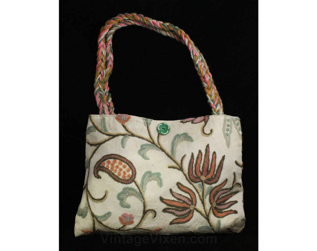 Hippie Chic 1970s Purse - Crewelwork Cotton Canvas Tote with Braided Straps - 70s Summer Boho Handbag - Pink Aqua Cream Crewel Bohemian Bag
