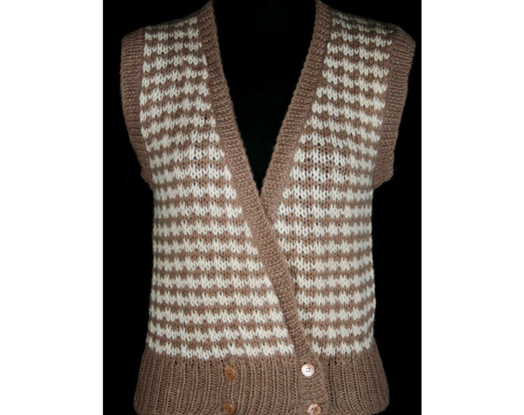 XS 80s Alpaca Vest - Mushroom & Cream 1980s Knit - Ladies Size 0 Sleeveless Sweater Vest - Fall Autumn Layers - Mint Condition - Bust 34