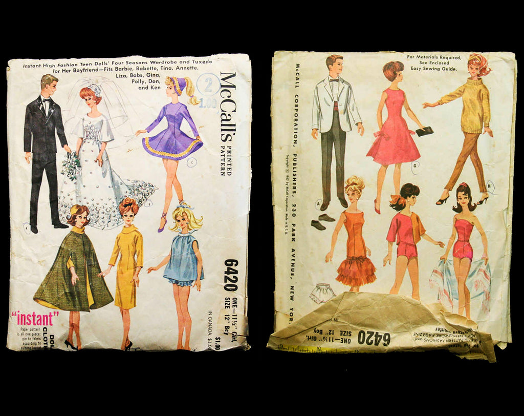 60s Vintage Doll's Sewing Pattern - Dated 1962 Wedding Dress + Wardrobe for 11 1/2 Inch Fashion Doll & Boyfriend's Tuxedo - McCalls 6420