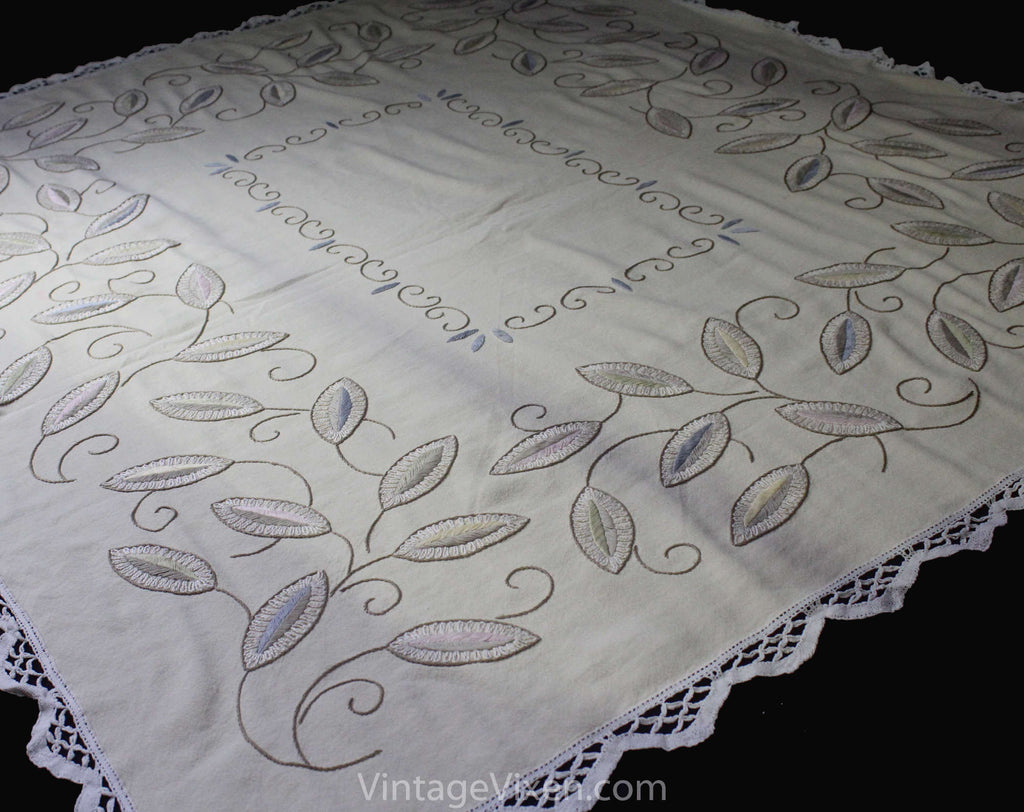 Pastel Embroidered Tablecloth - Cream Cocoa Pink Blue & Mint Green Leaves Embroidery - Soft Elegant Rustic Large Rectangle - Spring Hues