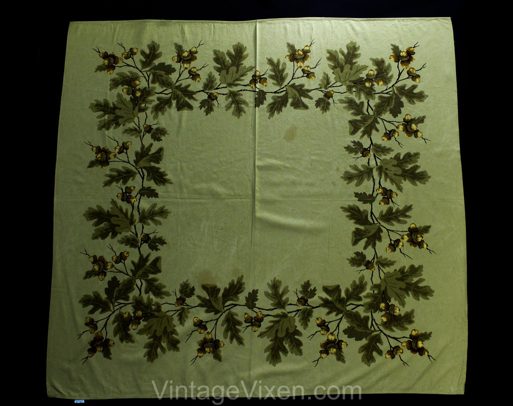 1950s Autumn Tablecloth - 49.5 x 53.5 Inches - 50s Novelty Print Acorns Nuts Oak Leaves - Tan Brown Metallic Gold - California Hand Print