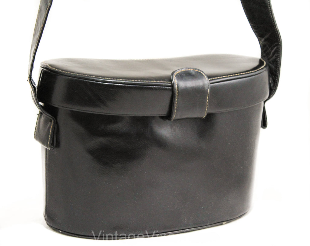 1930s 40s Shoulder Bag - Rare Patent Leather Binocular Purse - Kidney Bean Shaped Binoculars Style 30s Handbag - Glossy Black 1940s Leather