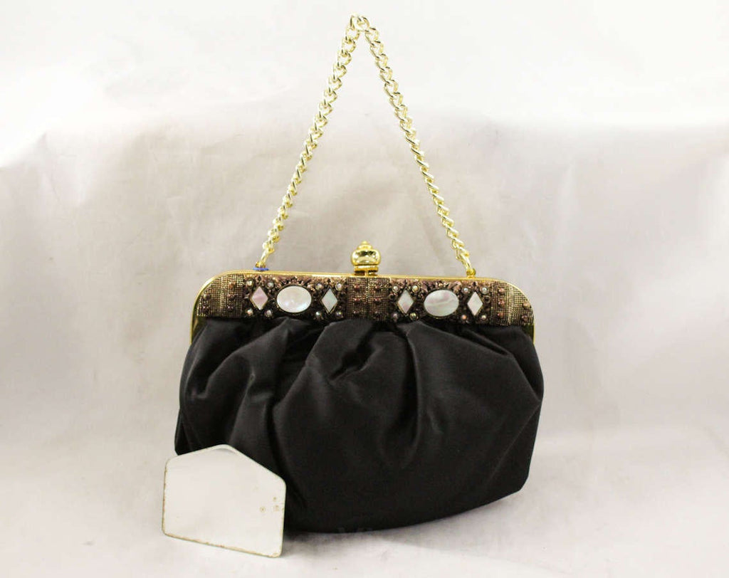 1950s Black Satin Purse - Elegant Pouf Bag with Jeweled Frame - Deadstock 50s Formal Purse - Evening Handbag with Gold Lining - 48102