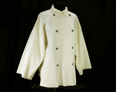 XL Wool Jacket - 60s Designer Geoffrey Beene - Mod 1960s Plus Size Minimalist Tunic - Ivory Wool Double Breasted with Pockets - Bust 48
