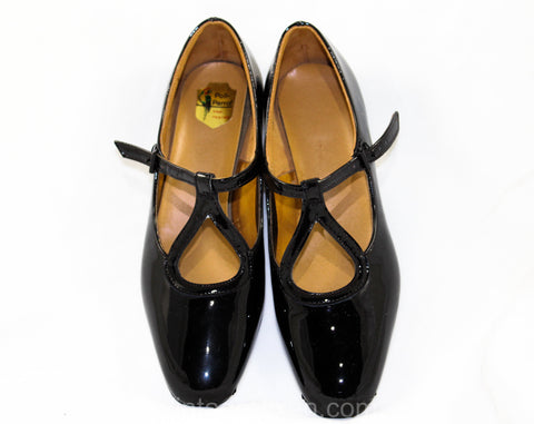 Size 12.5 Girl's Black Mary Jane Dress Shoes - Authentic 1950s 60s Girls Patent Vinyl - 12 1/2 - 50s Children's Flats Deadstock in Box - NIB