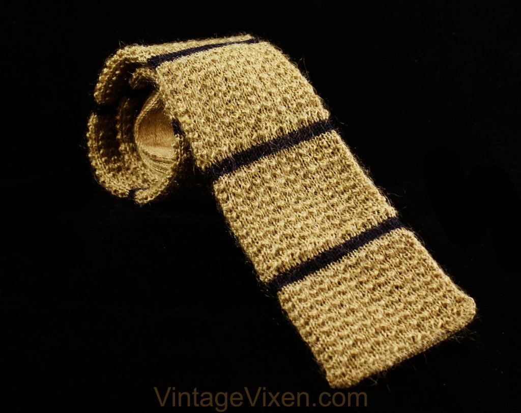 Men's Square End Tie - 1960s Khaki Tan Mohair Wool Knit Square-End Tie by Rooster - 60s Striped Navy Blue Mens Necktie - 60's Heathernit