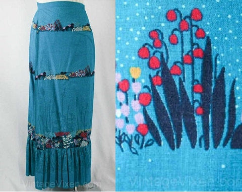 Size 8 Turquoise Summer Skirt - 70s Wrap Maxi Skirt - Teal Meadow Flowers Cotton Perspective Print - Resort Chic - Waist 28 to 29 - 40354-1
