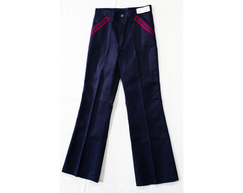 Teen Size 14 1970s Pants - Dark Navy Blue Bellbottoms - Teenage Boy's 70s Denim Style Like Jeans with Red Stripes - Waist 26 - NOS Deadstock