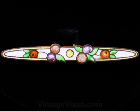1920s Deco Fruits Brooch - 20s - 30s - Pastel - Enamel - Bar Pin - Fruit - Berries - Charming - Art Deco - Cloisonne - Spring - 42543