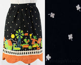 1950s Folk Apron - Size Medium to Large 50s Farm Novelty Print Half Apron - Scarecrow Chicken Calico Cat Country Theme - Waist 26 to 32