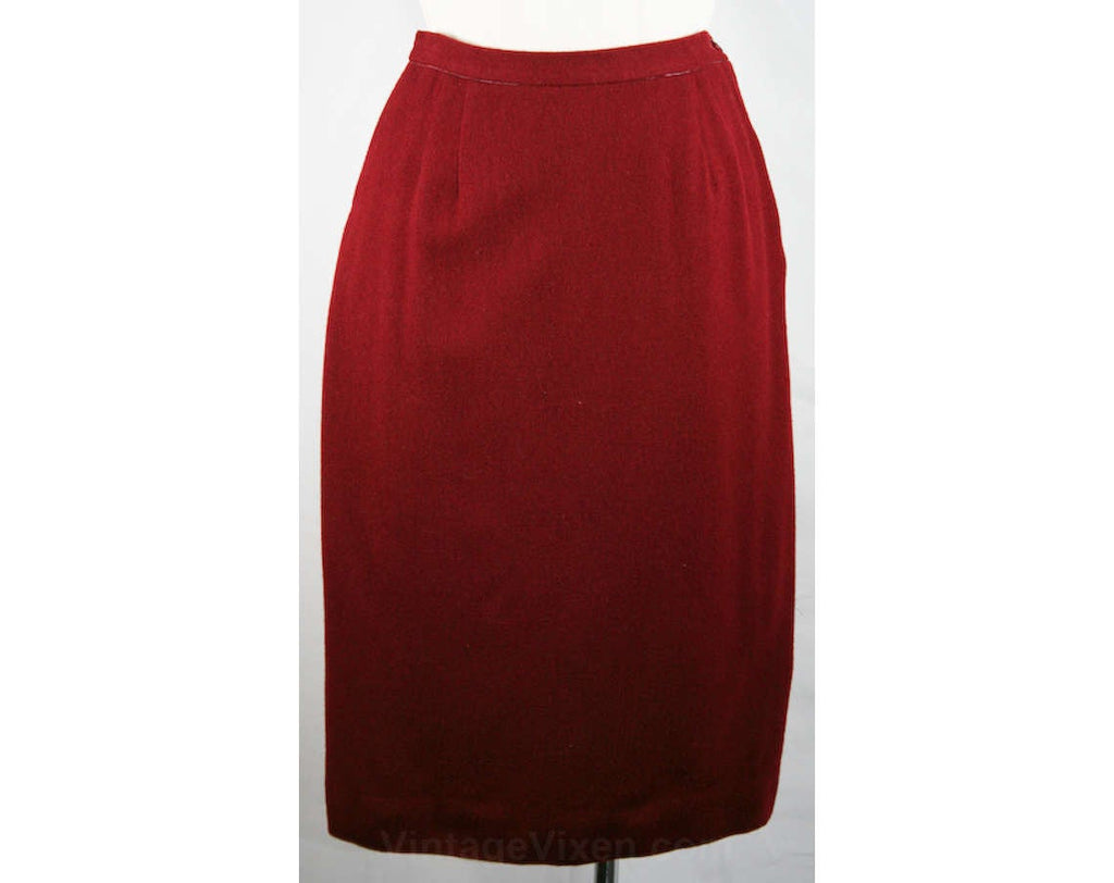 XS Girl Friday 1960s Burgundy Wool Straight Skirt - Size 2 to 3 - Wool 60s Office Clothes - Secretary Style - Fall - Waist 23.5 - 33427-1