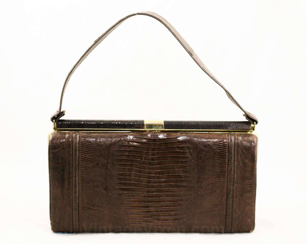 1950s Reptile Purse - Dark Brown Leather Handbag - Classic 50s 60s Bag - Goldtone Metal Hardware - Top Handle Bag - Near Mint! - 38906