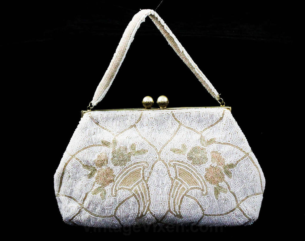 1940s White Evening Bag - Hand Beaded Formal Purse with Cornucopia Motif - 40s 50s Handbag - Icy Pastel Blue & Pink - Horn of Plenty - 48121
