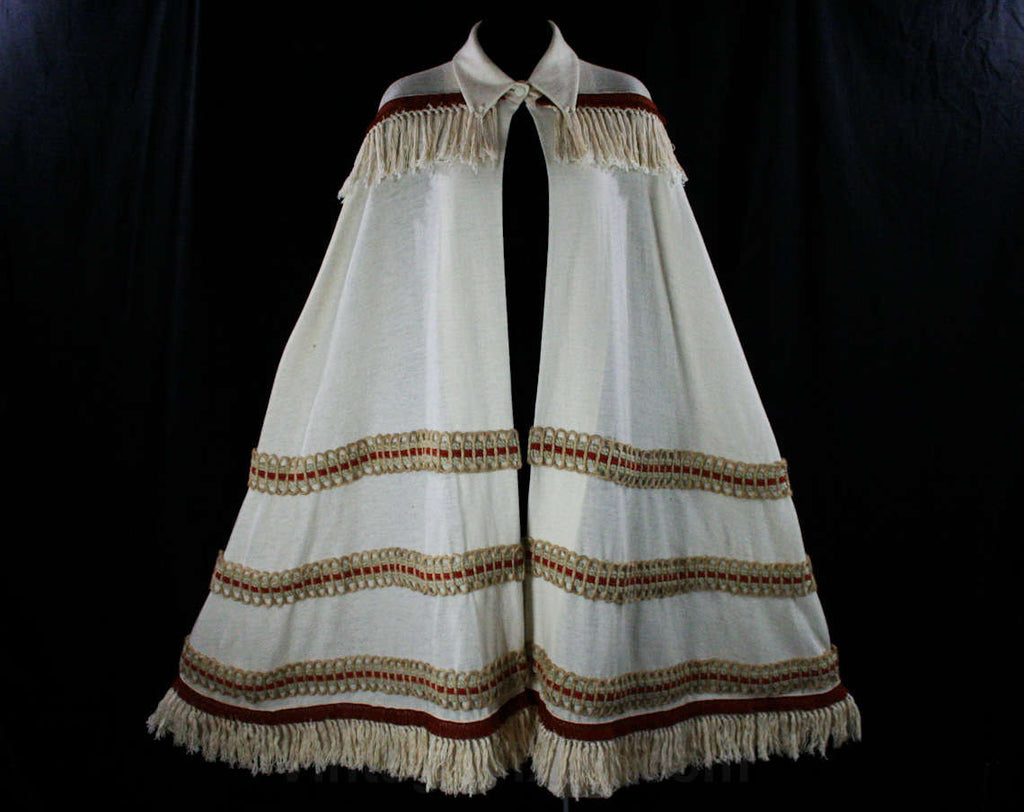 Posh Hippie Cape - 1960s Ivory Wool Knit - Burnt Orange Fringe - Sisal & Braid - Dramatic Boho 60s Wrap - Deadstock - New With Tag - 36166