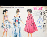 60s Vintage Doll's Sewing Pattern - Dress Set, Evening Gown, Coat & Hat, Kimono - Dated 1962 for 11 1/2 Inch Fashion Doll - McCalls 6260