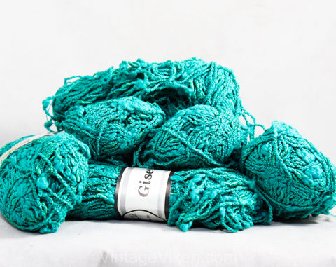 Turquoise Nubby Yarn from Italy - Six Skeins of Terrific Slubby Texture - Sea Green Blue Cotton Blend for Knitting Crochet Fiber Arts 1980s