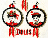 1950s Bathroom Hand Towels - Guys & Dolls Victorian Powder Room Novelty Theme - 50s 60s Kitsch Bath - Red Black - 2 Bucilla Towels - 49680