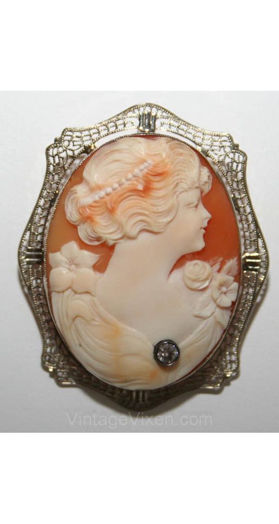 Exquisite Edwardian Habille Cameo in 14KT Filigree Frame - Antique Gold Pin - Brooch - Converts to Necklace - Gibson Girl Look - 28052-1
