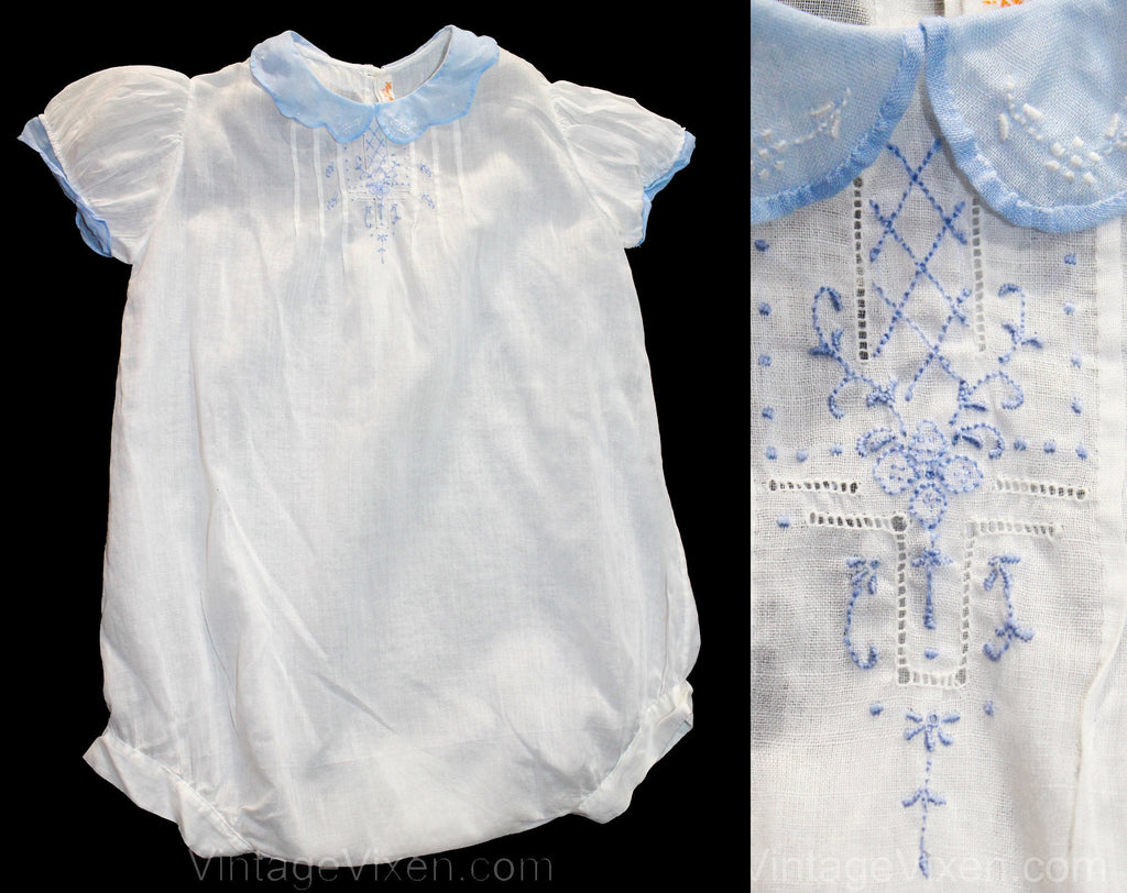 Charming 1920s Toddlers White Cotton Chemise Style Romper with Baby Blue Deco Embroidery - Size 18 to 24 Months - Infant Child's Bubble Suit