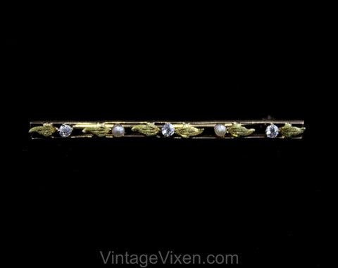 10KT Gold Brooch with Diamonds and Freshwater Pearls - Leafy Open Design Long Rectangle - Beautiful Lapel Pin - Marked 10 Karat - Exquisite