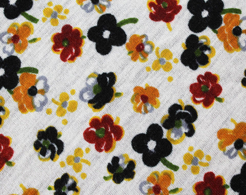 1.66 Yards Fabric - 1960s Floral Jersey Knit Yardage - 1 2/3 Yards x 36 Inches Wide - Maroon Orange Goldenrod Black White Strewn Flowers