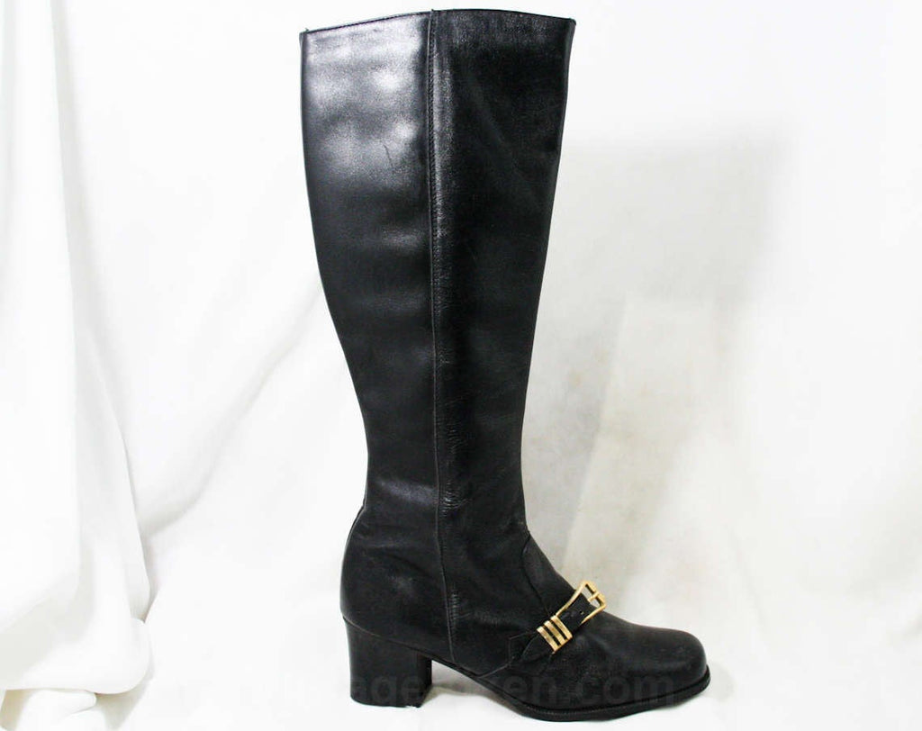 Sexy 60s Black Boots - Size 6 - Black Leather - Made in Italy - 1960s - Big Brass Buckle - Chic Street Style - Unworn - Deadstock - 43199-1