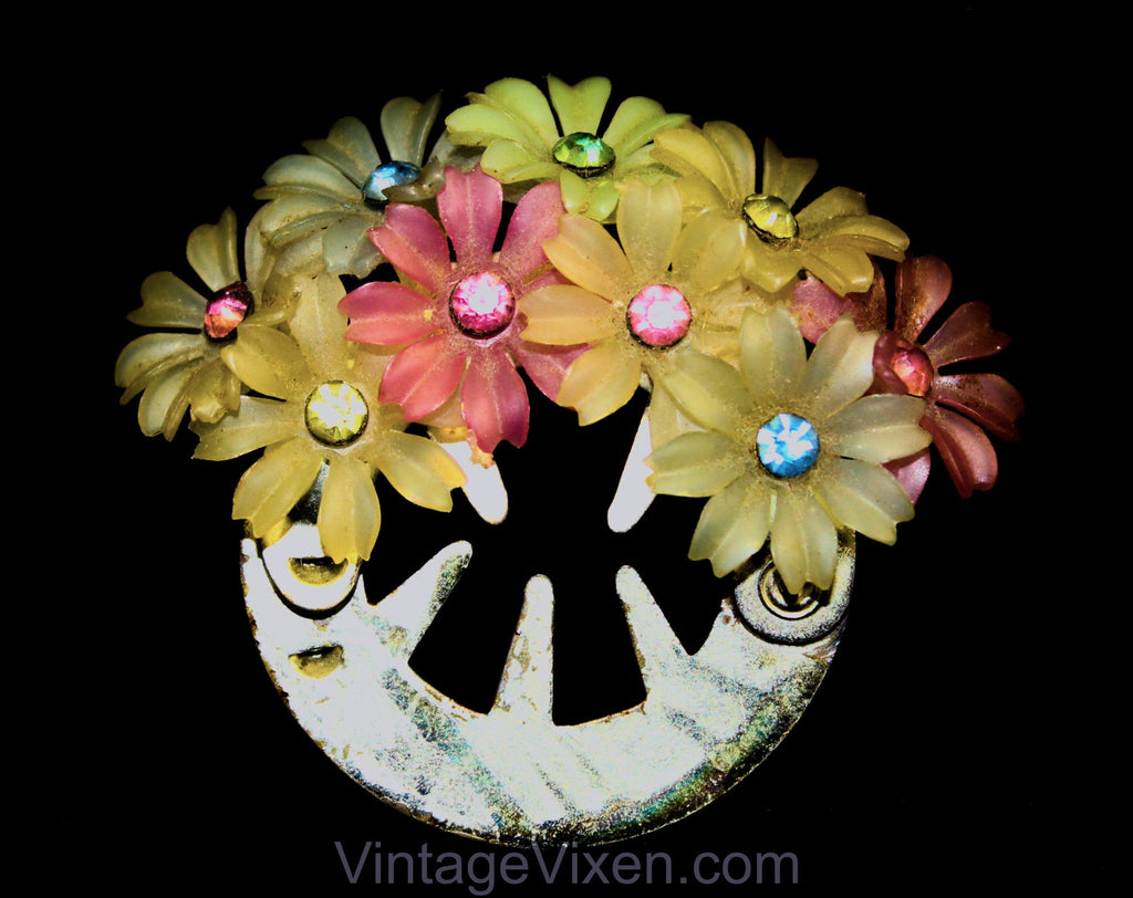 50s Rhinestone Flowers Ponytail Holder - 1950s Hair Clip Accessory - Spring Pastel Rainbow Flexible Plastic Daisy - Colorful Round Barrette
