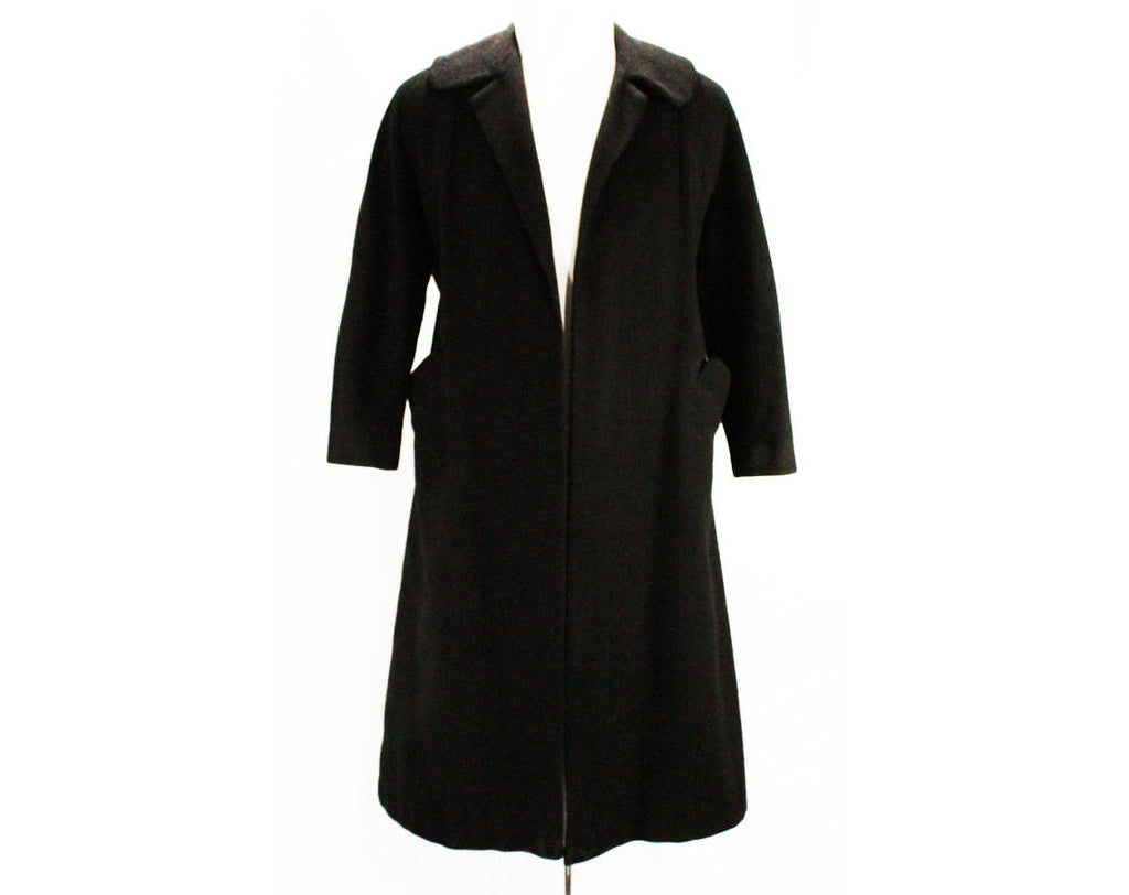 Large 1950s Black Coat - Size 12 to 14 Luxurious Overcoat - 50s Open Front Winter Coat - Beautiful Plush Luxury Soft as Cashmere - Bust 42
