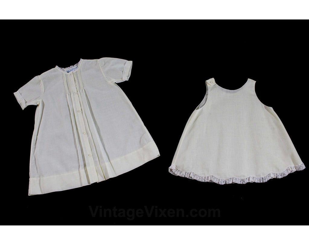 1950s Baby's Dress & Slip Set - Size 0 to 3 Months - Fine Pale Yellow Cotton White Embroidery - All Hand Sewn - 50s Infant Girl's Outfit