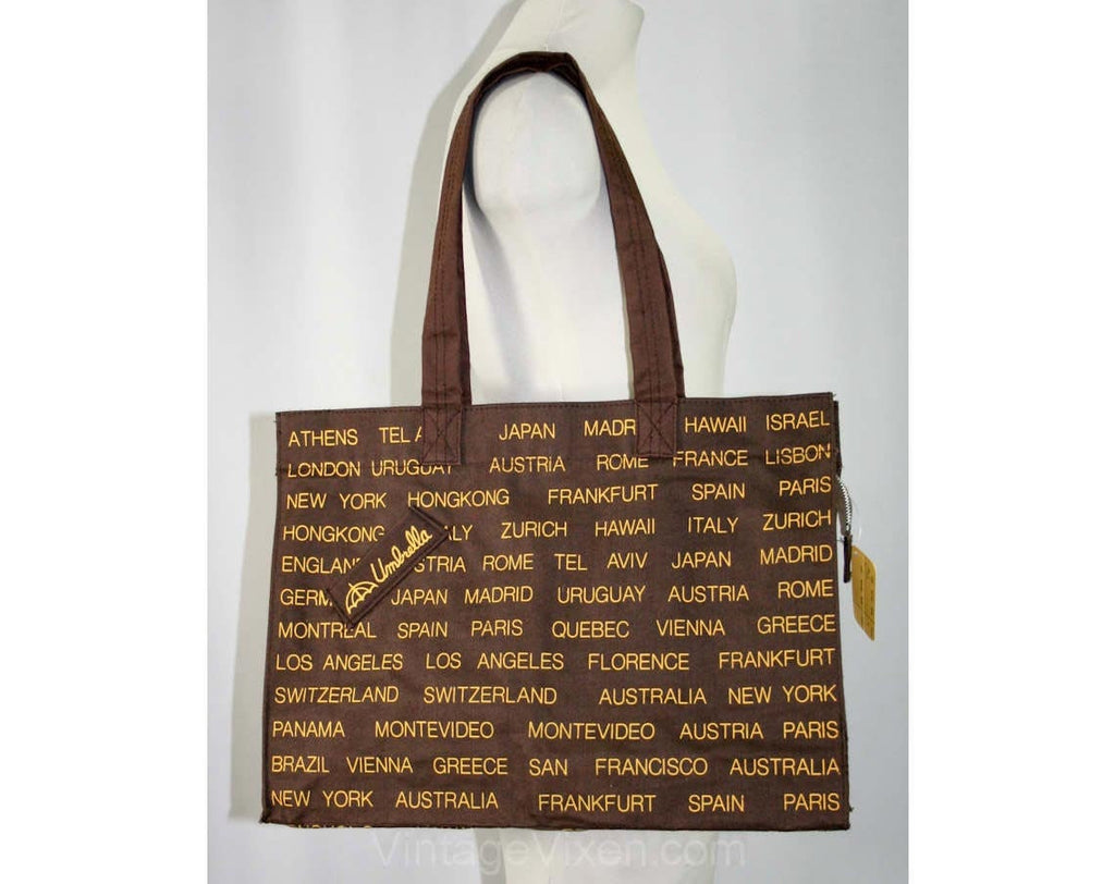 Globe Trotter 1970s Brown Tote Bag With Umbrella Pocket - Large Size - Mint Condition - 41517-1