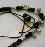 Authentic 1960s Gypsy Necklace in Black Glass & Jingle Bells - Made In India by Nomads - Hippie Emporium Deadstock - 60s Y Shape - 32956-1