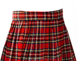 1950s School Girl Skirt - Red & Black Tartan Plaid Pleated Kilt Style - Children's Size 12 14 Pre Teen - Fall Autumn Preppie - Waist 25.5
