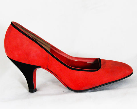 Size 4 Art Deco Shoes - Unworn 1950s Salmon Pink & Black High Heels - 50s Small Size Pumps - Two-Tone Butter Soft Suede - 4B Deadstock