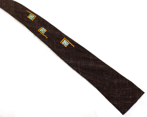 Rockabilly Men's 50s Square End Tie - Brown Summer Rayon Print 1950s Necktie - Collegiate Style with Green & Orange Geometric Embroidery