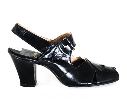 Size 6 Shoes - Chic 1930s Black Leather Open Toe Pumps with Art Deco Criss Cross Style - 6AA Narrow Width - Authentic 30s NOS Deadstock
