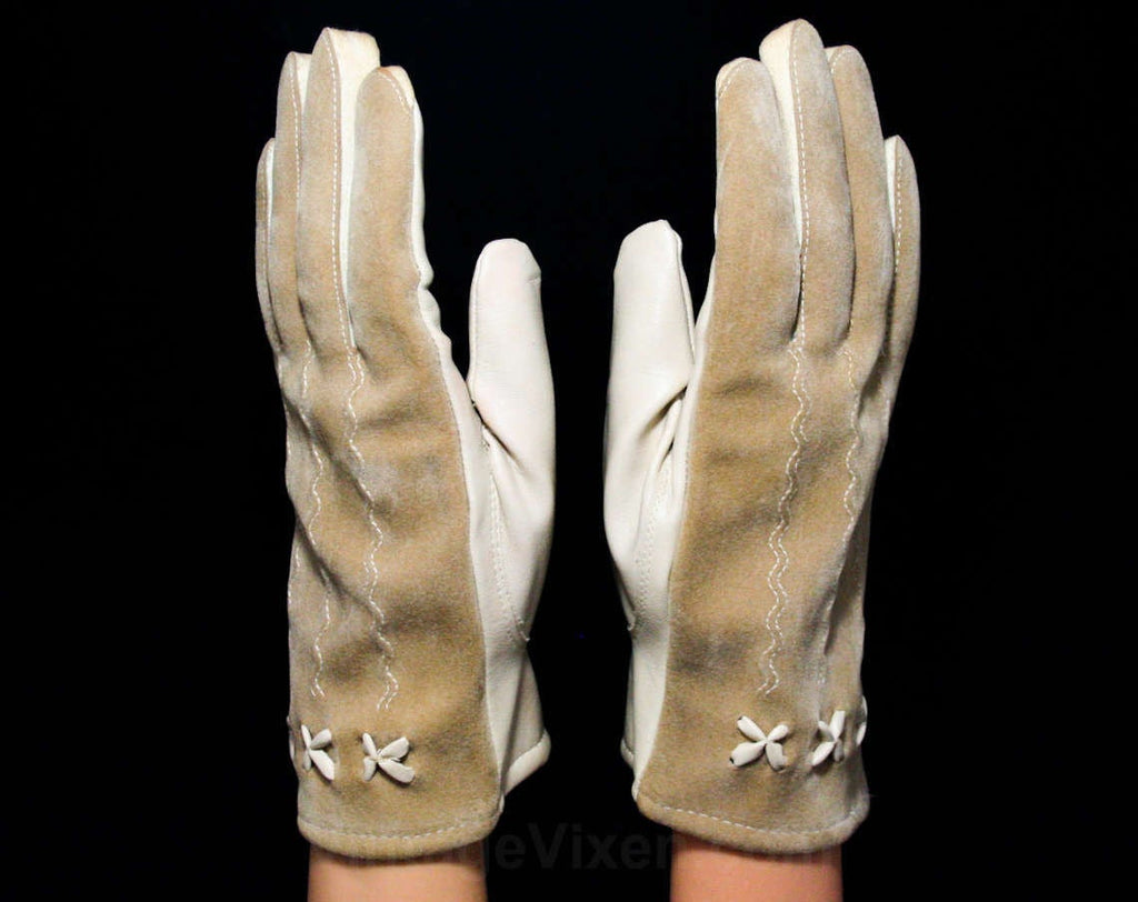1960s Taupe Vinyl Gloves with Four Leaf Accents - Pair Beige Neutral Gloves - Faux Leather & Cotton Jersey Knit - Marked 6 1/2 to 7 1/2
