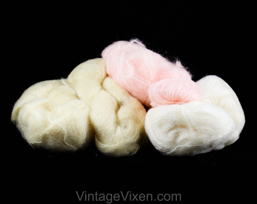 Pink Ecru & Ivory Mohair Yarn - 1950s 60s French Four Skeins - Fluffy Soft Luxury Pastel Knitting Mohair for Sweater Trims - Made in France