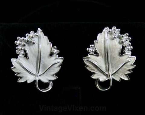White Leaf & Berries Earrings - 50s Classics - Leafy Enamel - Bright Silver Detail - 1950s - Leaves - Clip On - Deadstock - 42402
