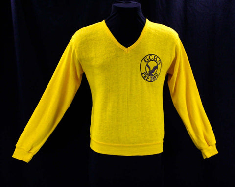 Small Mens Pep Band Sweater - 1960s Men's V Neck Yellow Pullover - Long Sleeve - GCHS Band High School Music - Like New - Chest 40 - 41943