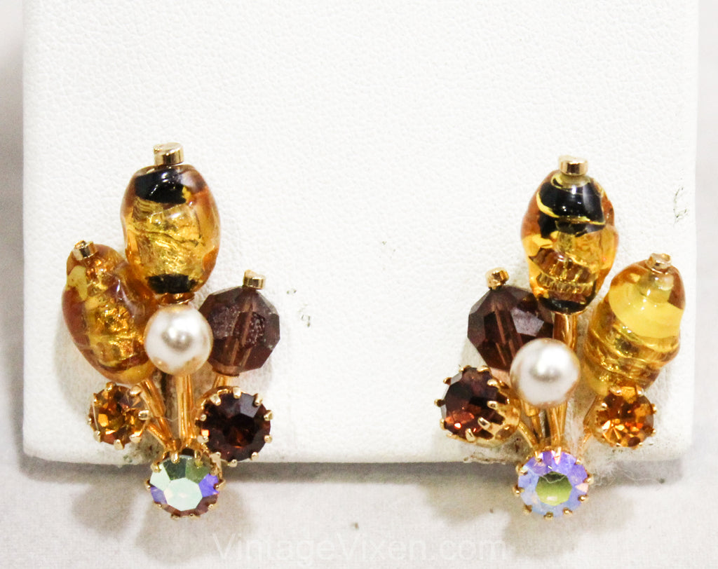 1950s Brown Rhinestone Earrings - Fall Art Glass 50s Clips by Kramer - Foiled Gold - Faux Pearls & Root Beer - Beautiful Burst Style - 50438