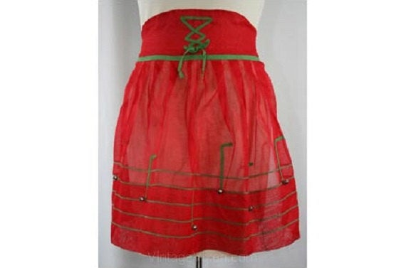 1950s Red Holiday Apron with Jingle Bell Music Notes - Christmas Colors - Half Apron - Lace Up Look Waist - Novelty - Red & Green - 30244-1